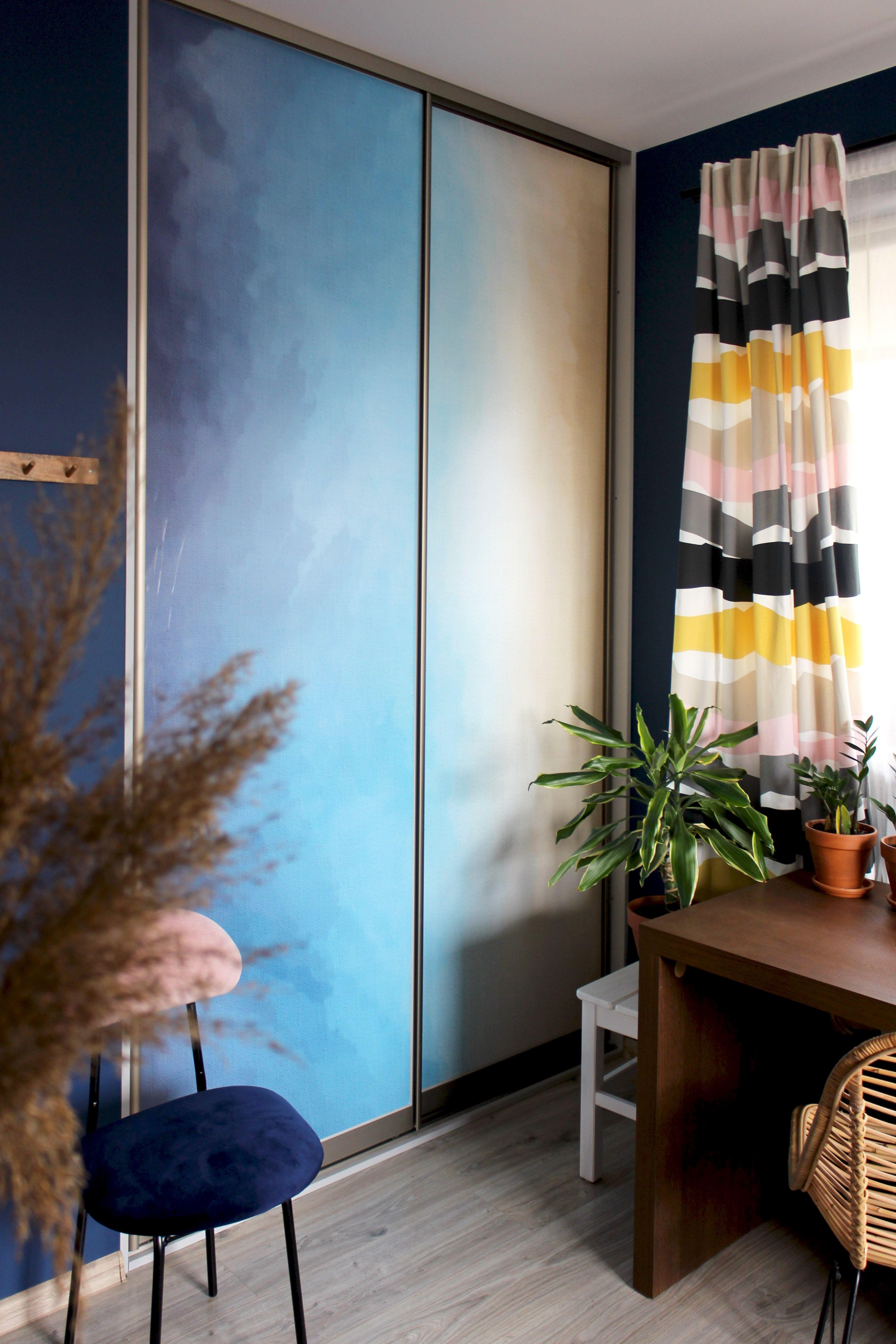 Beautiful Abstract Wallpaper On The Wardrobe Door Lovely Peel Stick Way To Upgrade The Room Walldecor Wallpap Closet Door Makeover Closet Doors White Closet