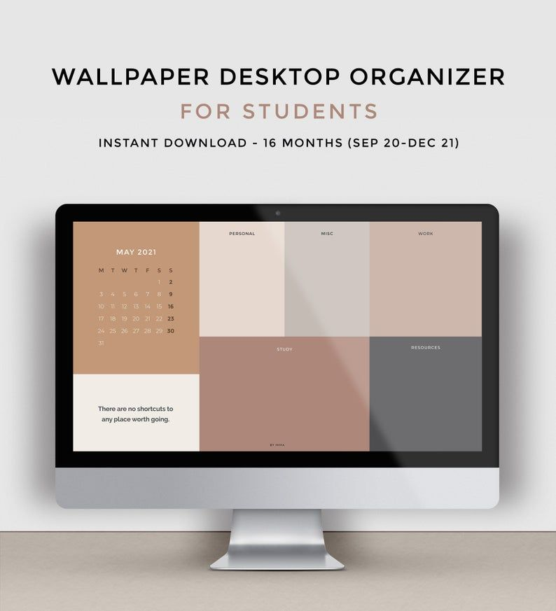 Desktop Wallpaper Organizer For Students Minimalist Wallpaper For School And College 2021 2022 Calendar And Quotes Folder Icons Included Desktop Wallpaper Organizer Desktop Organization Minimalist Wallpaper
