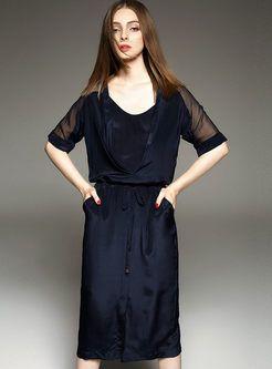 Brief Pure Color Silk Maxi Dress