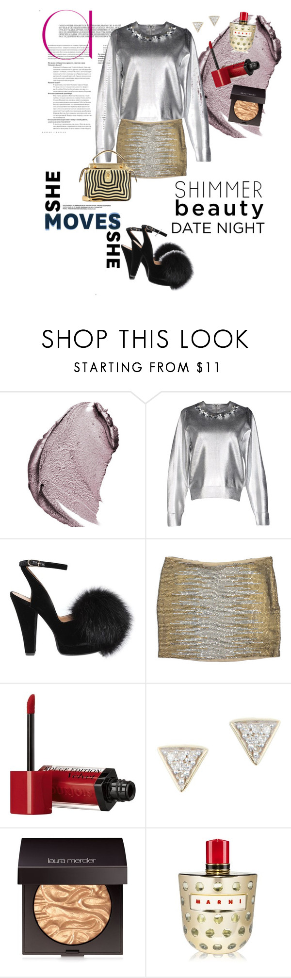 """Shimmer Beauty Date Night"" by flippintickledinc ❤ liked on Polyvore featuring Christian Dior, Muveil, Sonia Rykiel, Haute Hippie, Bourjois, Adina Reyter, Laura Mercier, Marni, Fendi and DateNight"