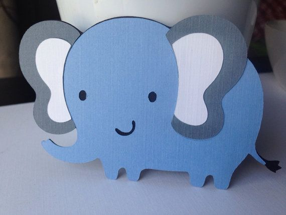 Elephant Baby Shower Decorations Blue Elephant By QuirkyOwlDesigns