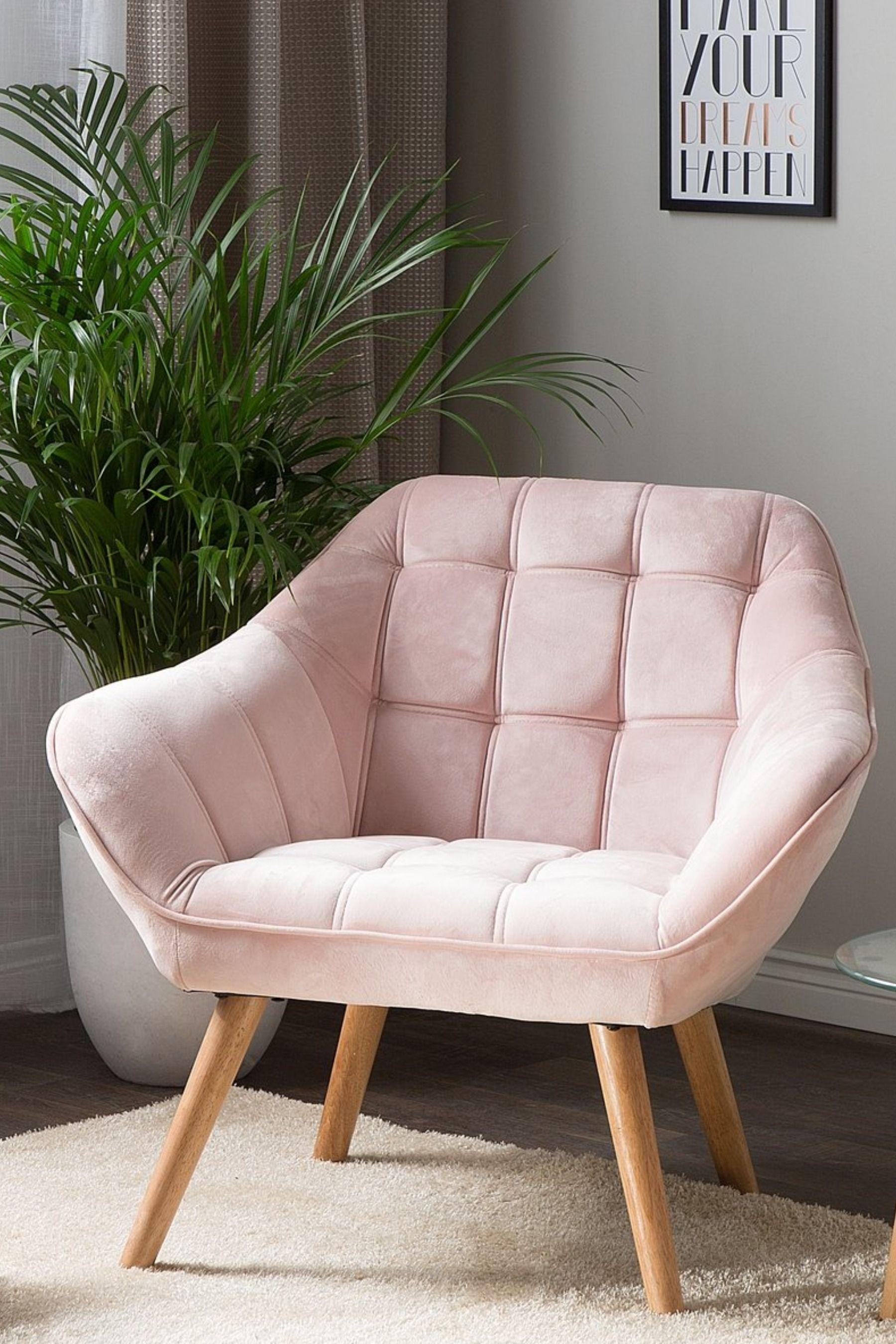 Velvet Armchair Pink Karis In 2020 Arm Chairs Living Room Armchair Bedroom Living Room Chairs