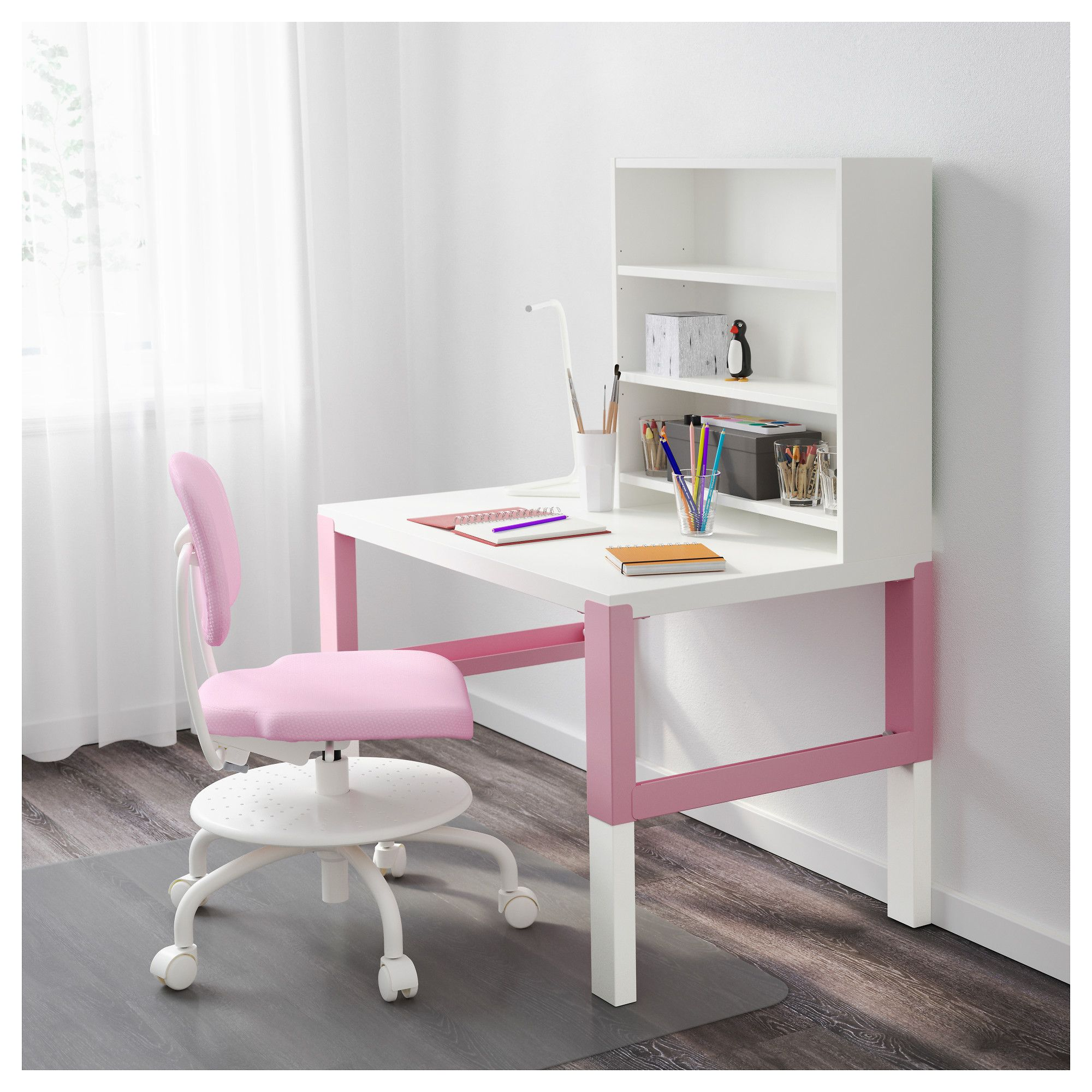 IKEA PÅHL Desk with addon unit white, pink Ikea, Desk