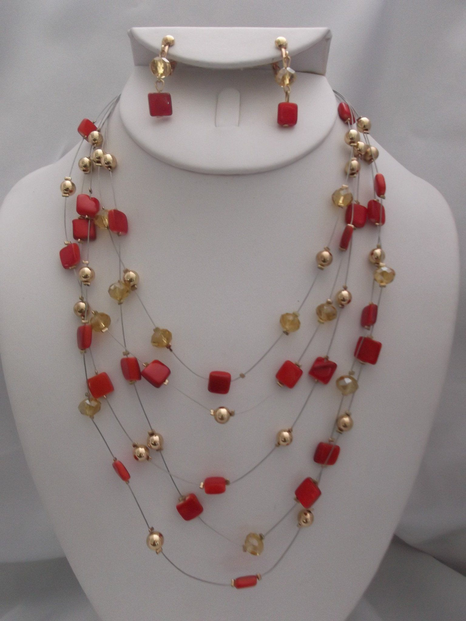 CLIP ON WIRE GOLD, YELLOW & ORANGE BEADED NECKLACE & EARRING SET ...