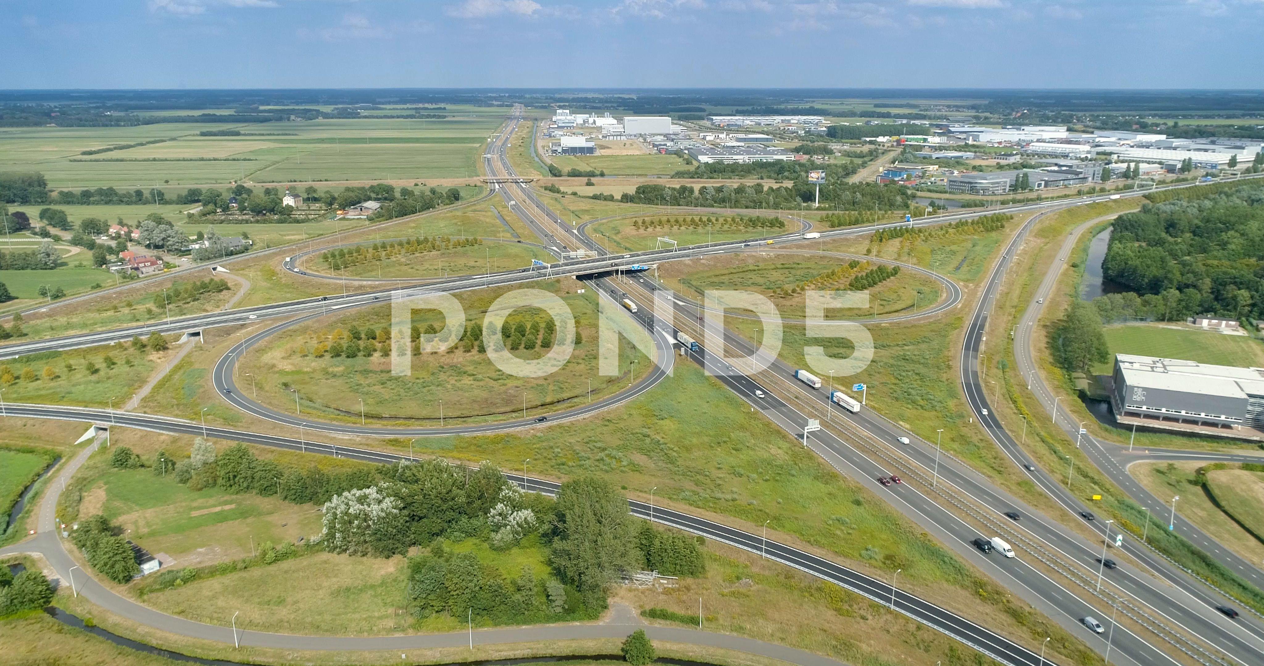 Heerenveen highway intersection a32 a7 holland c 4k