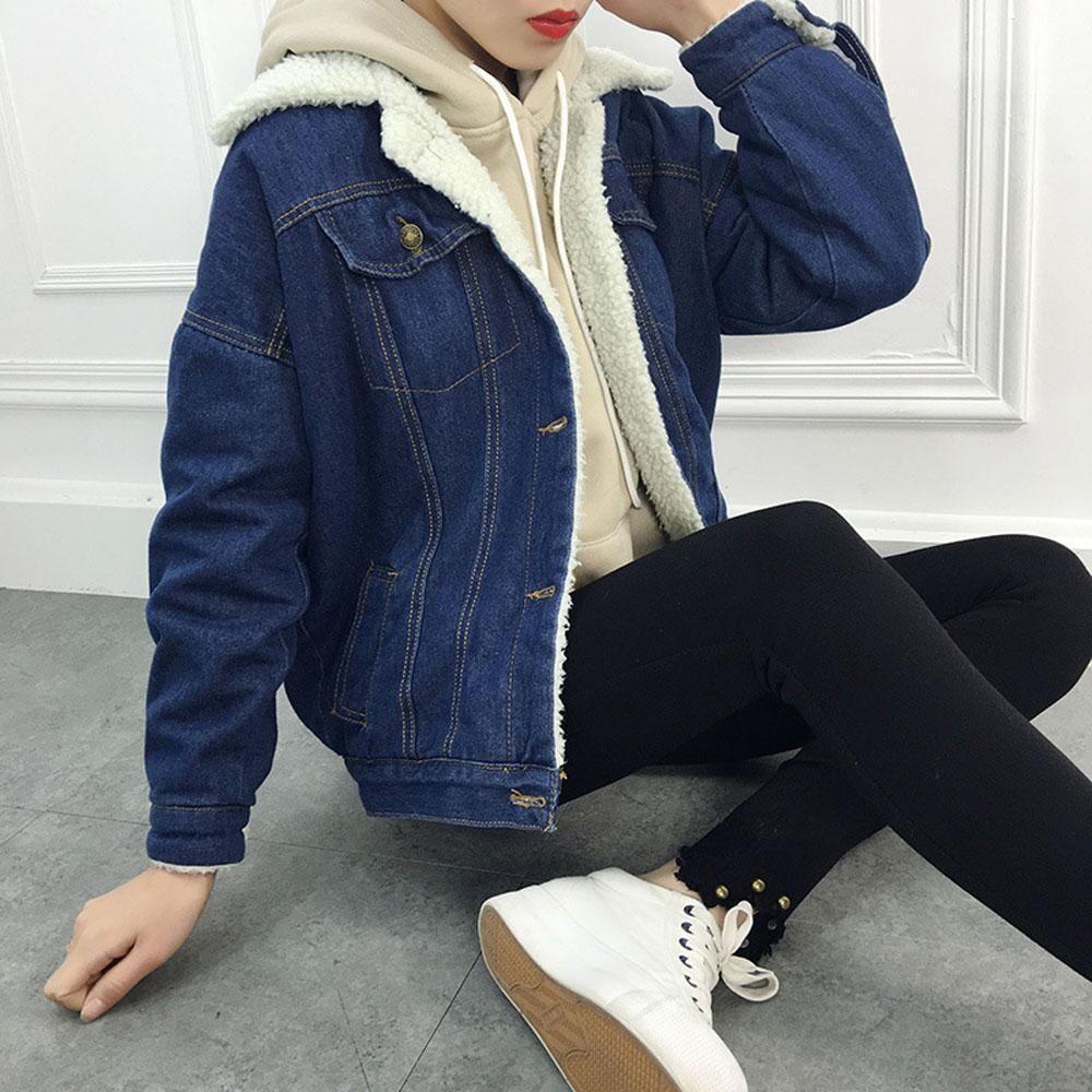 Winter Warm Loose Denim Jacket Women Lambswool Jean Coat Basic Long Sleeve Outwear Jean Jackets Denim Jacket Women Denim Jacket With Fur Womens Jackets Casual [ 1000 x 1000 Pixel ]