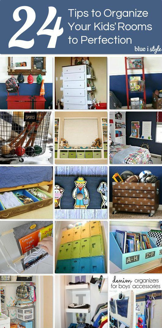 24 TIPS TO ORGANIZE KIDS' ROOMS! An organized kids' space reduces stress and leaves more time for fun. Here are tips for organizing toys, books, legos, creative play, and even closets!