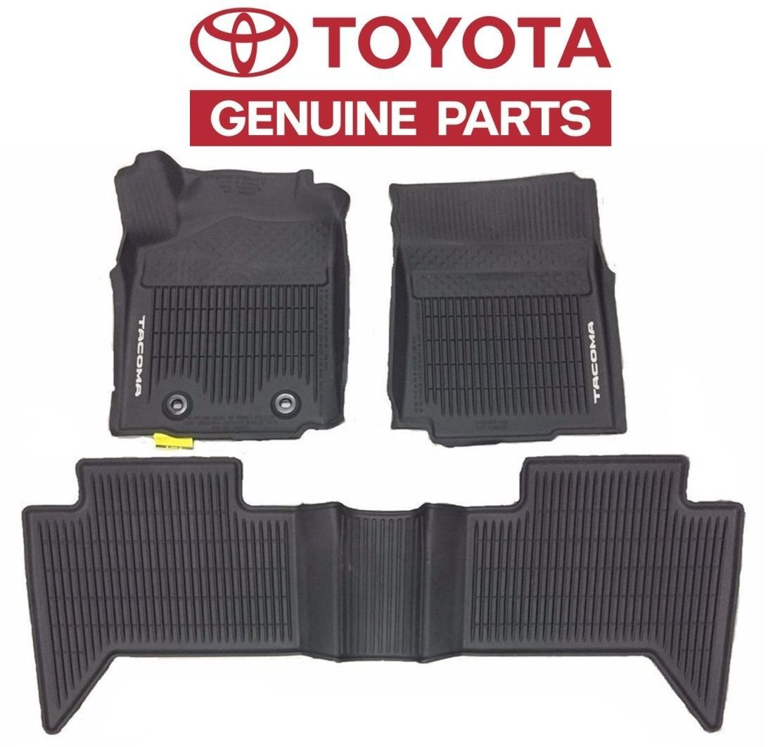 mats weather mat floor set black vs oem tacoma rubber toyota logoed all