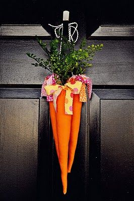 love the idea of fabric carrots on the door instead of a wreath. so fun!