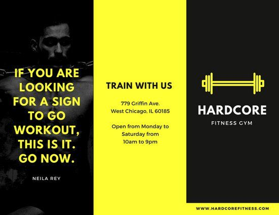 Black And Yellow Fitness Trifold Brochure  Gym Graphics Branding