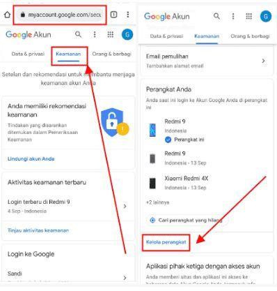 cara menghapus akun google di hp lain