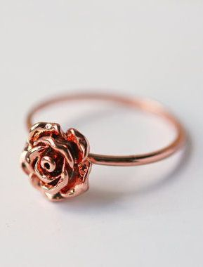 Rose Gold Rose Ring Pink Gold Size 55 And 575 Modern Dainty Simple