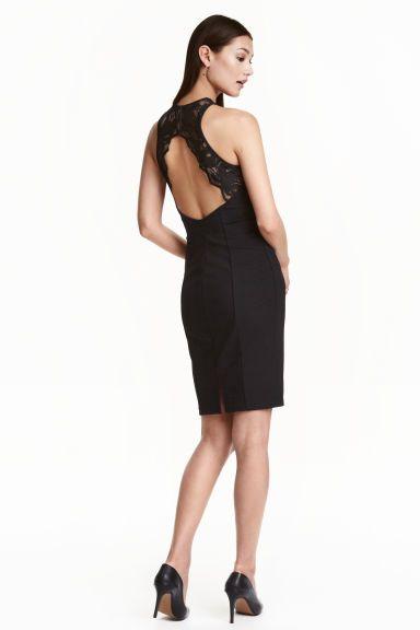 Dress With A Lace Back Black Ladies H M Gb Knielanges Kleid Kleider Knielang