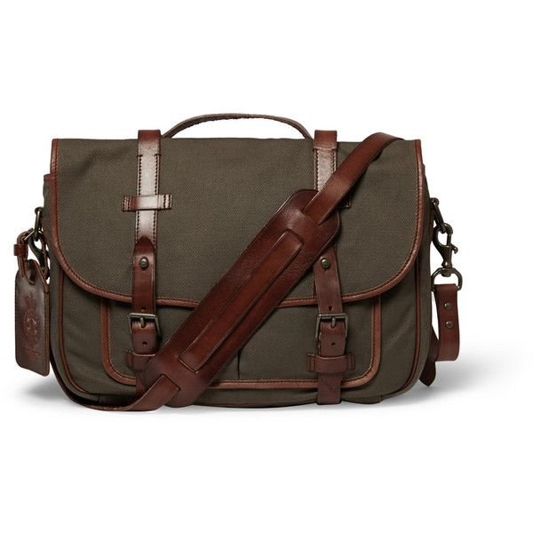 Polo Ralph Lauren Canvas and Leather Messenger Bag ( 300) ❤ liked on  Polyvore featuring mens db6dafd698d62