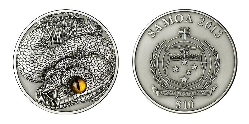 COLLECTORZPEDIA Snake 10$ 2oz Silver Coin High Relief