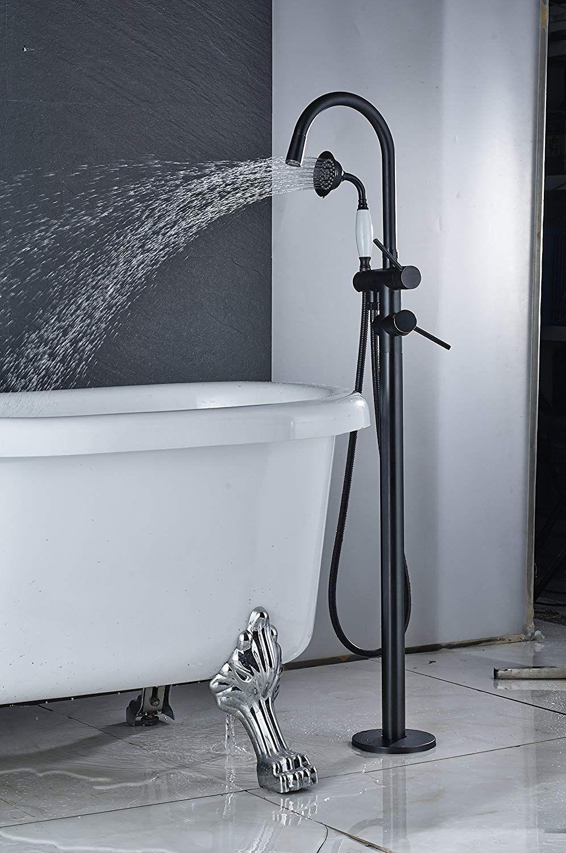 Floor Mounted Free Standing Bathroom Tub Filler Bathtub Faucet W//Handheld Mixer