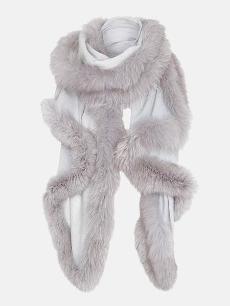 dark grey genuine real rabbit fur wavy scarf neck warmer collar shawl stole