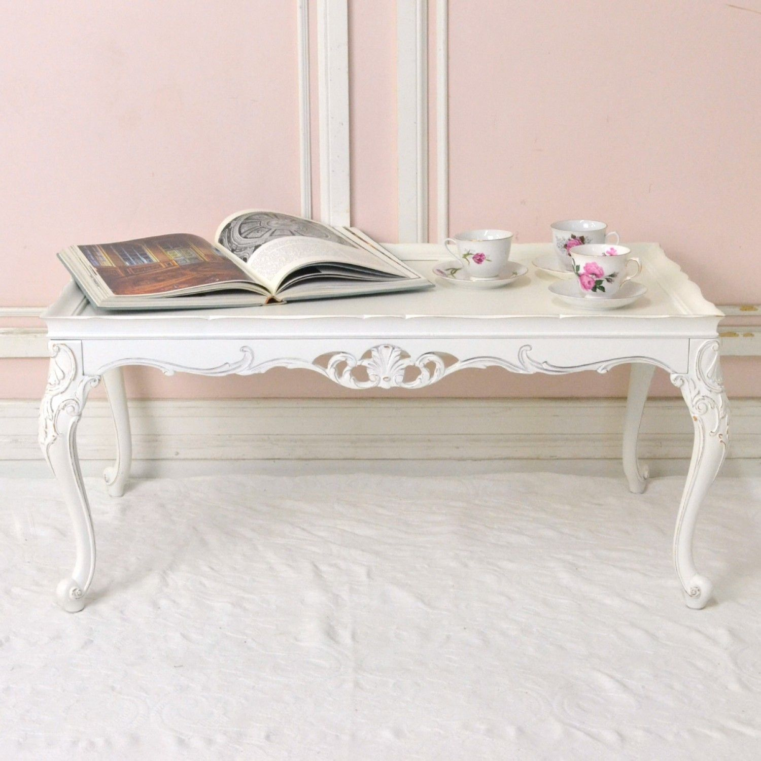 White ornate coffee table 45500 thebellacottage shabbychic white ornate coffee table 45500 thebellacottage shabbychic ooak geotapseo Gallery