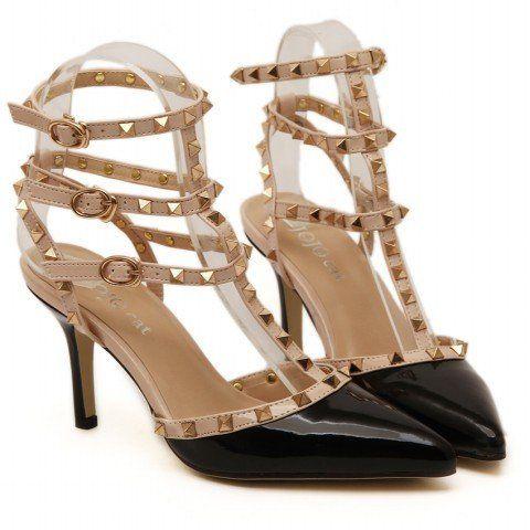 The valentine 3 straps shoes women Rivets pumps high heels K&M ONE STOP SHOP Regular price $43.99 Sale