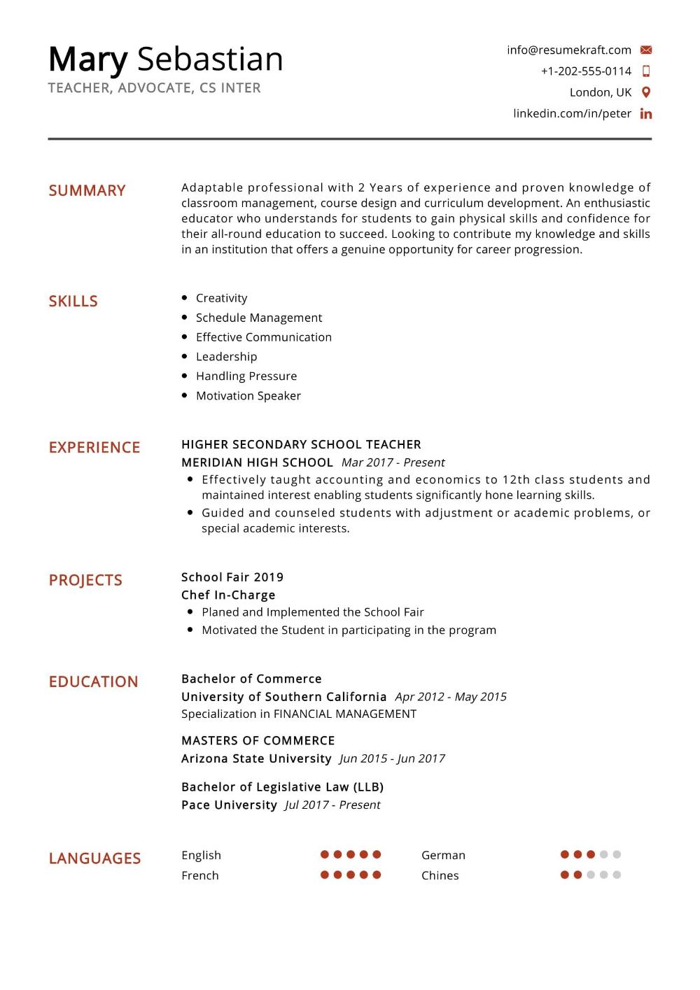 100 Professional Resume Samples For 2020 Resumekraft Teacher Resume Secondary School Teacher Student Resume Template