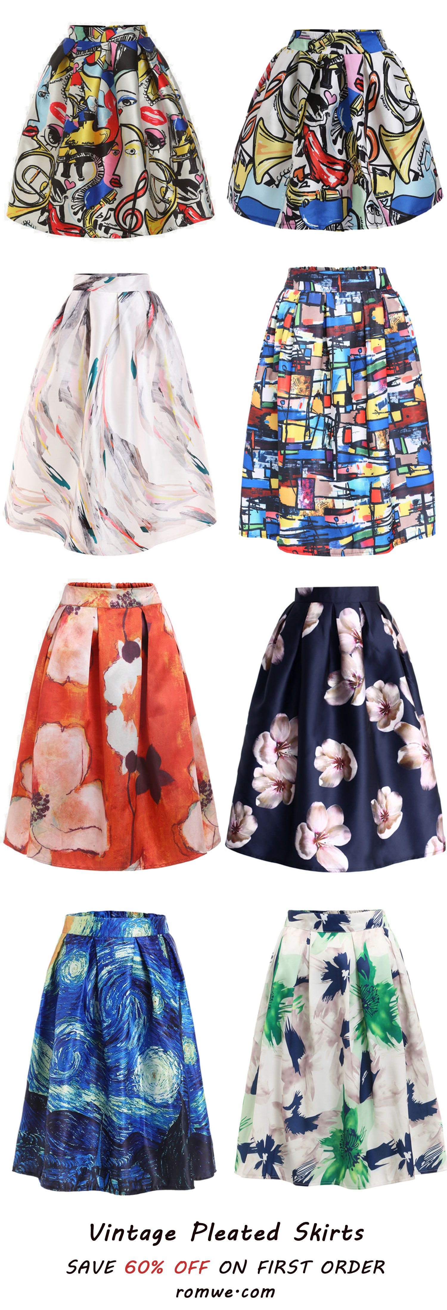 Cool Vintage Print Skirts from romwe.com
