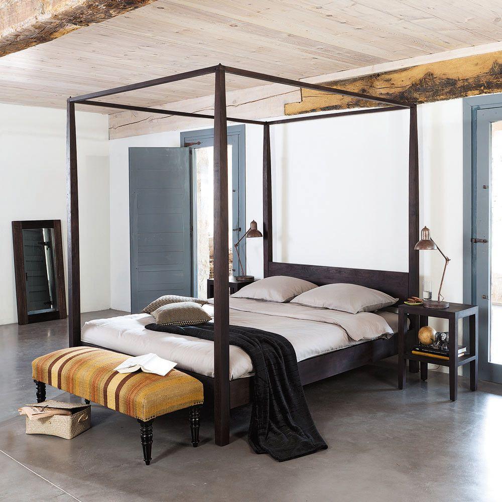 Letto Baldacchino Maison Du Monde.Letto A Baldacchino 160 X 200 Cm In Massello Di Acacia In 2020