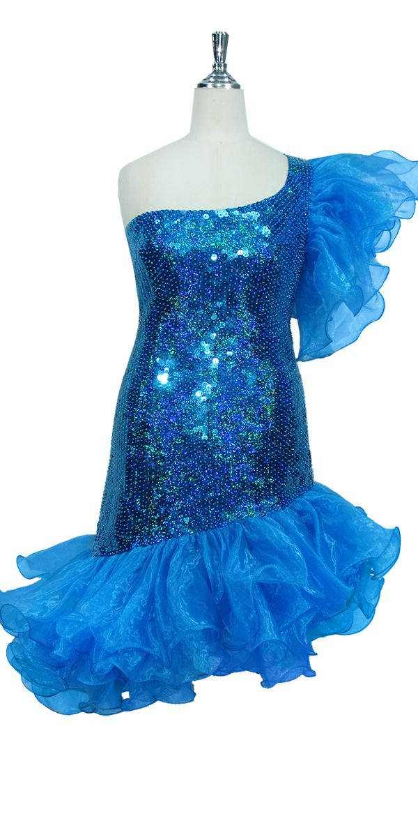 216cec819a5 Short Handmade 10mm Flat Sequin Dress in Hologram Turquoise with  One-shoulder Cut and Organza Skirt and Sleeve.
