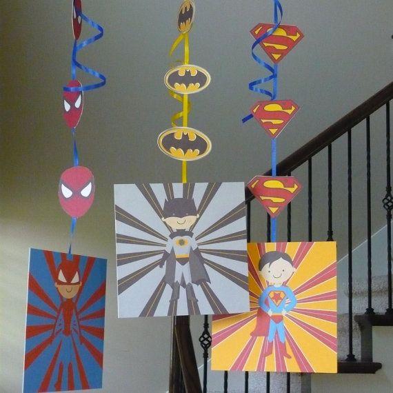 Super Hero hanging decorations DIY PRINTABLE with superman batman