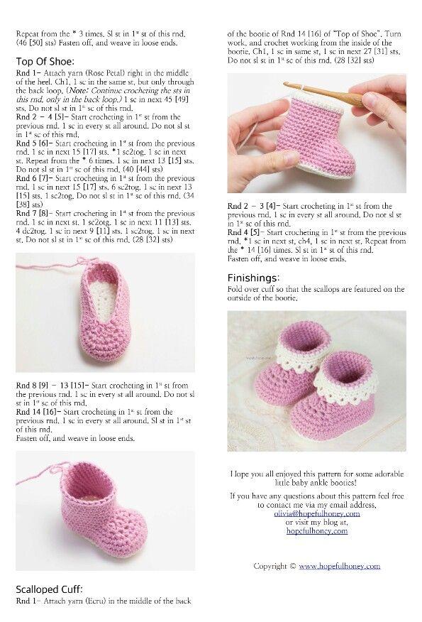 Hopeful Honey ~ Pink Lady Baby Booties - free crochet pattern ...
