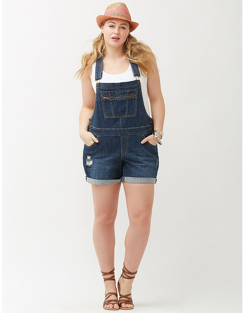 1ba471e7541 Denim overall short by Lane Bryant