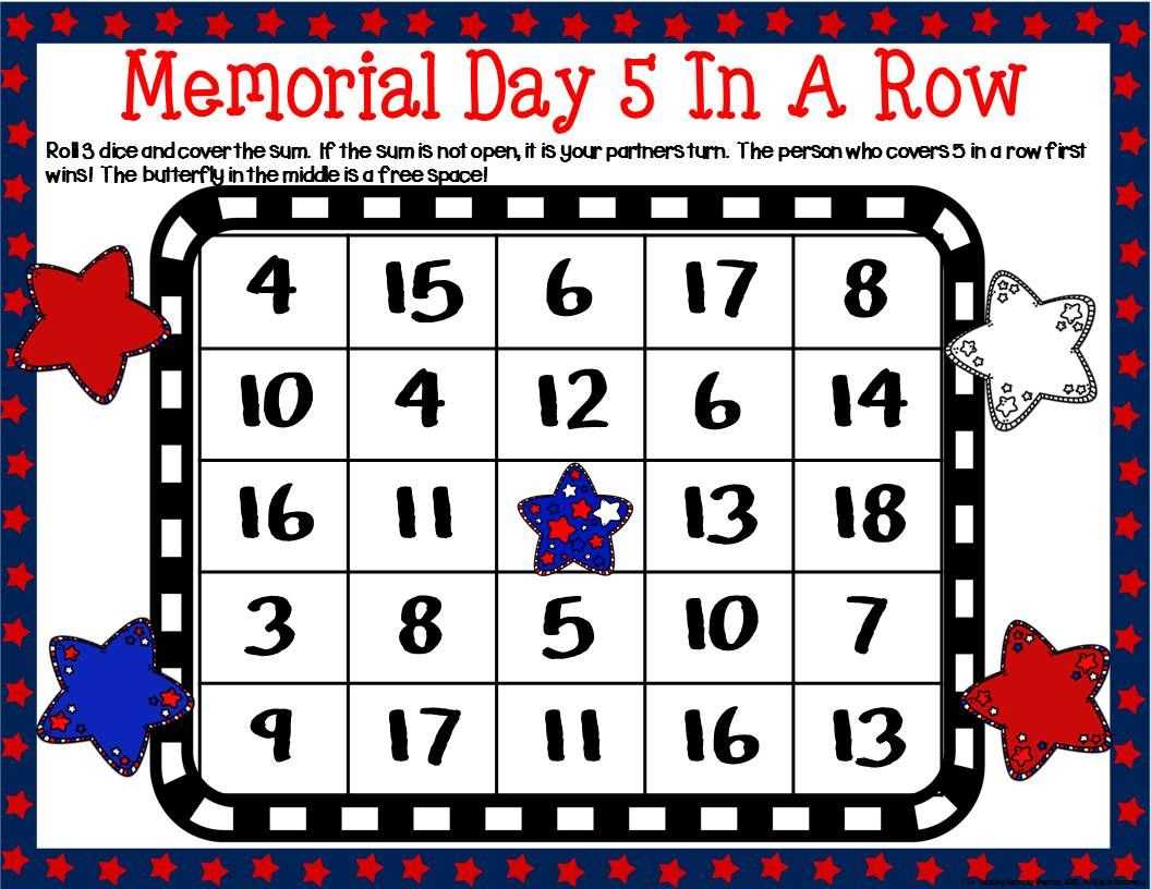 Memorial Day Math Centers With Images