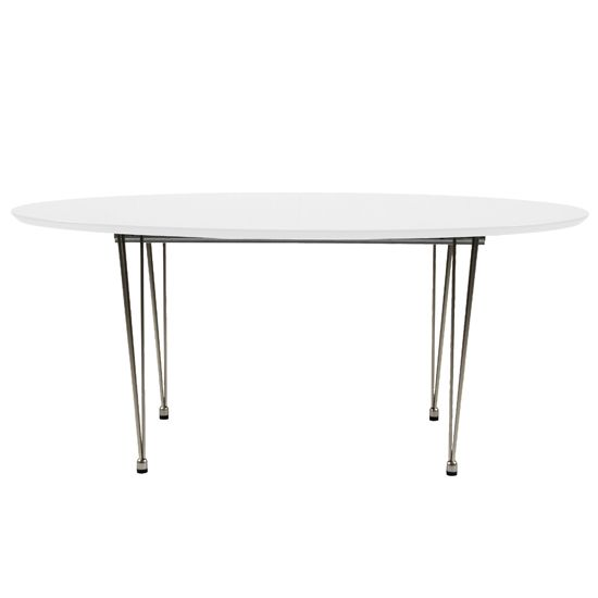 Belina Oval Dining Table With White Lacquer Finish And Chrome Legs