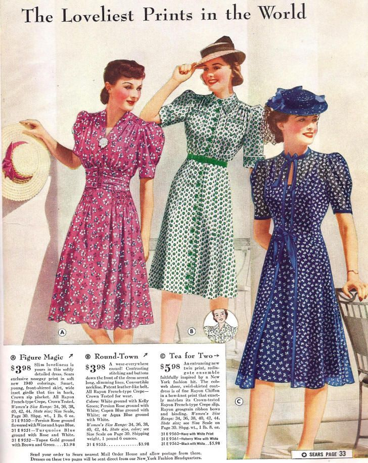 07e1cc43b5 1940 Sears Catalog day dress 40s floral dots blue navy white green button  front short sleeves pink red puff color illustration hats swing war era  vintage ...