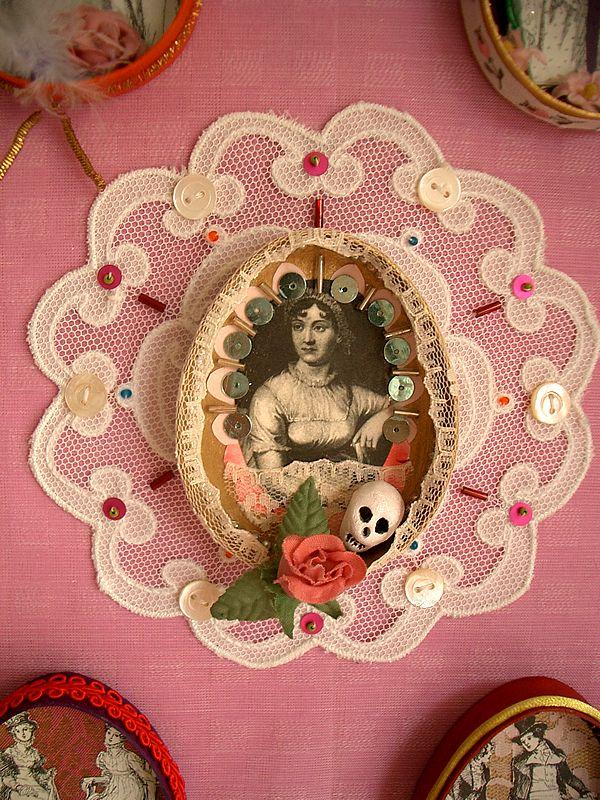 Jane Austen Wall Hanging Shrine detail by filzgood