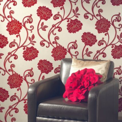 Statement Paste The Wall Alanis Flock Red Wallpaper