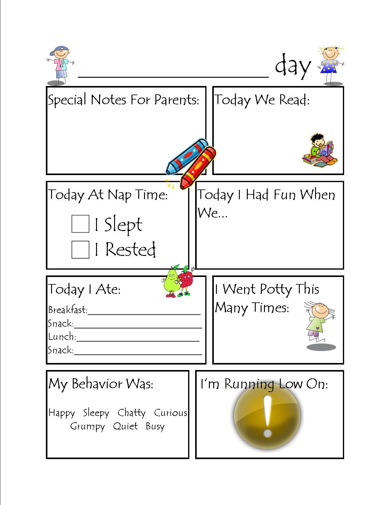 Toddler Daycare Daily Report