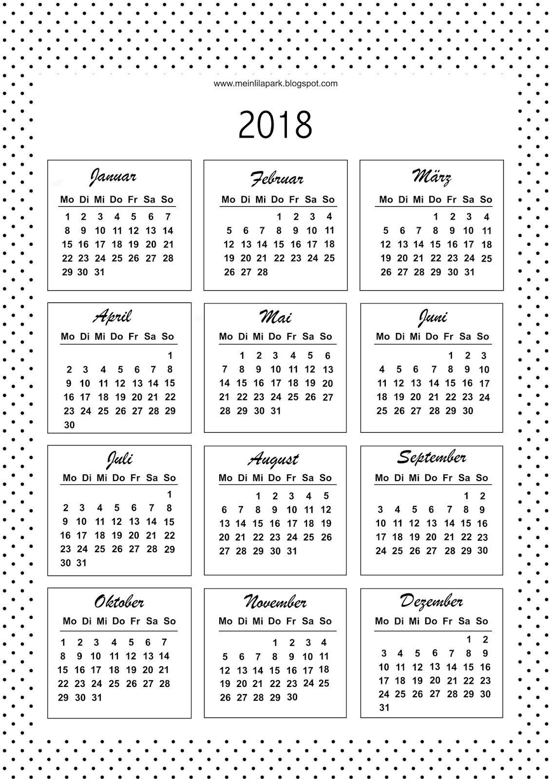 2018 Kalender Kalenderkarten Schwarz Weiss Deutsche Und Engl