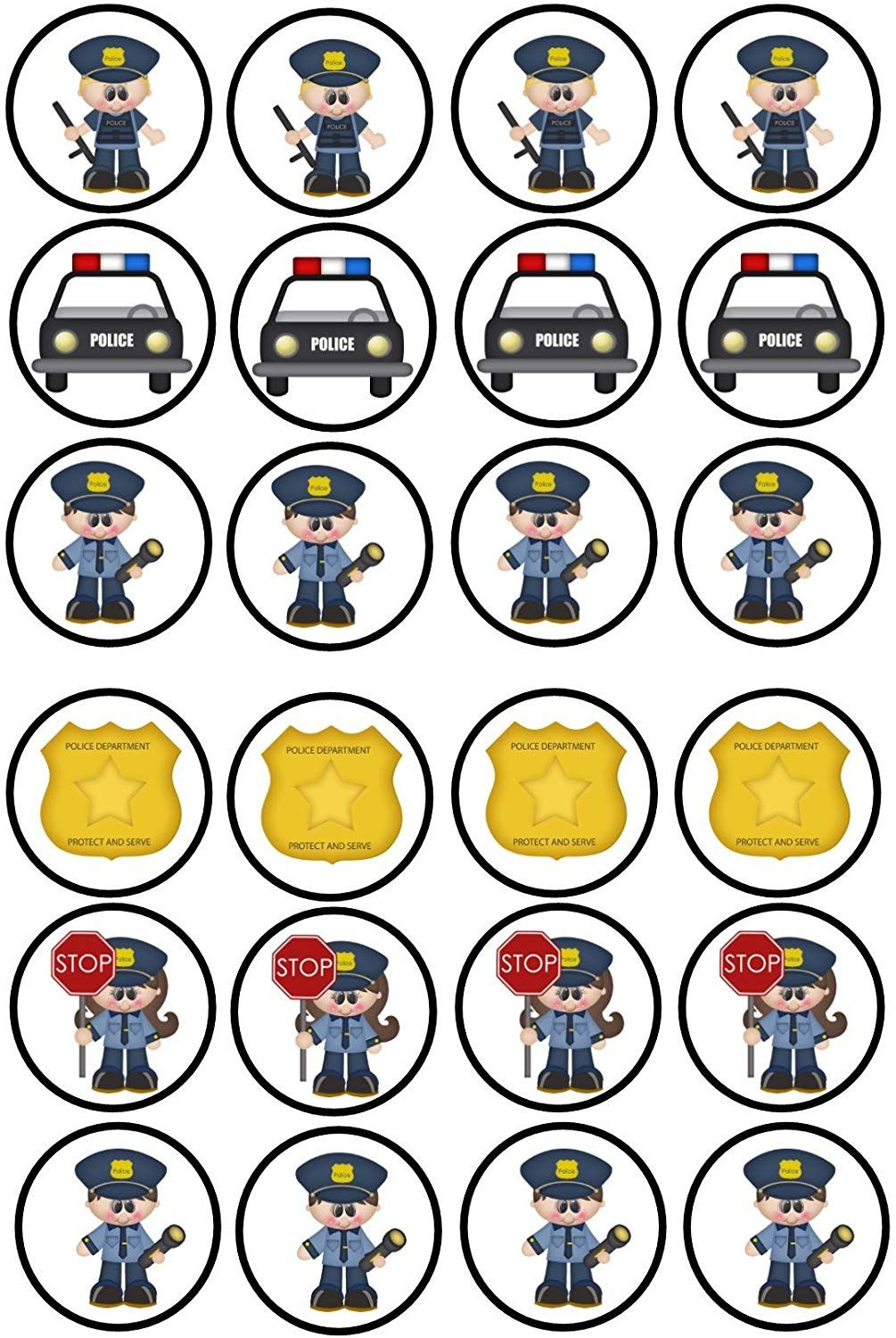 24 Police Policeman Car Cartoon Mix Themed Cupcakes Edible Cake Toppers 4cm On Wafer Rice Paper Amazon Co U Police Party Police Birthday Police Birthday Party