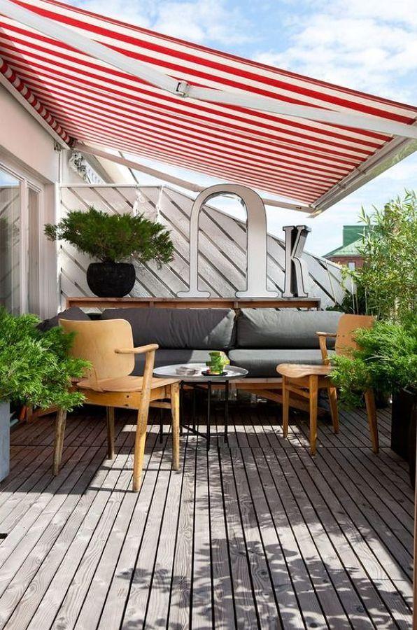 terraza con toldo terrazas Pinterest Terrazas, Jardín y Patios - cortinas para terrazas