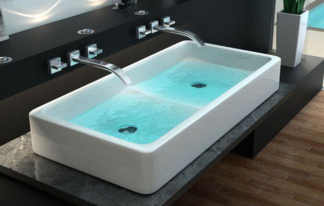 Lavandini Da Bagno Da Appoggio : Lavabo bagno design doppio da appoggio chomei in ceramica cm