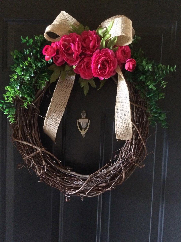 Pink Roses Wreath - Summer Wreath - Spring Wreath - Grapevine Wreath - Burlap Bow - Front Door Wreath - Decoration by BluebonnetBelleShop on Etsy https://www.etsy.com/listing/384401232/pink-roses-wreath-summer-wreath-spring