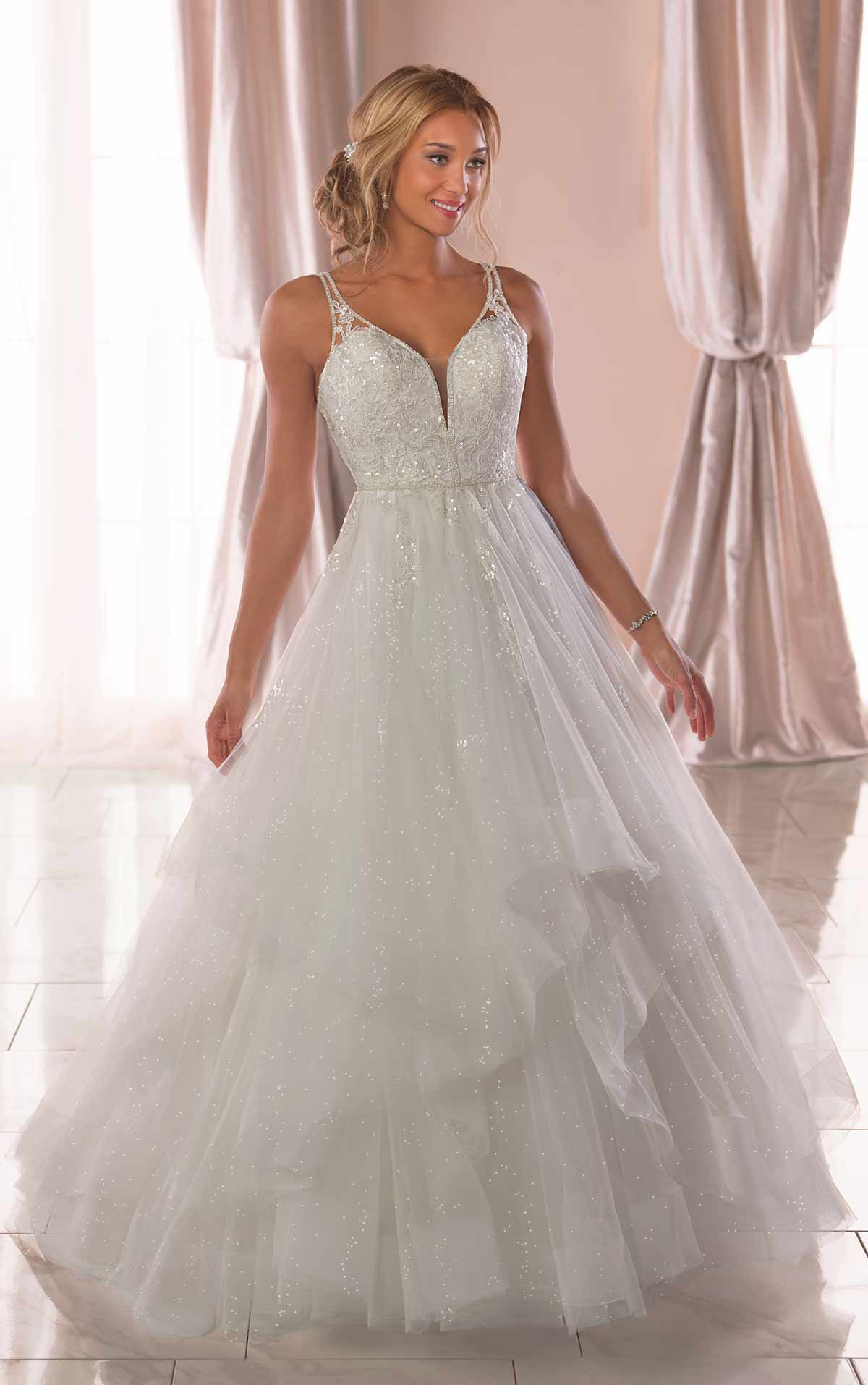 Strapless fitted lace wedding dresses  Lace bodice shimmer tulle wedding dress lace sparkle wedding