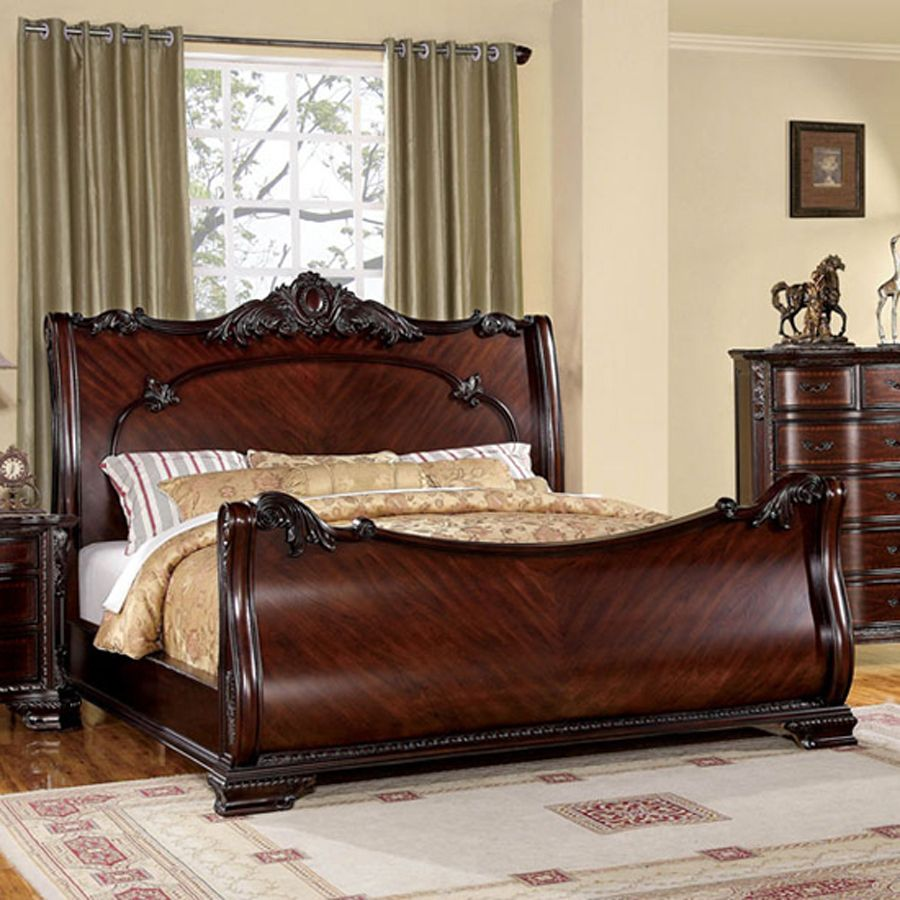 shop furniture of america bellefonte brown cherry queen on lowes paint sale today id=49265