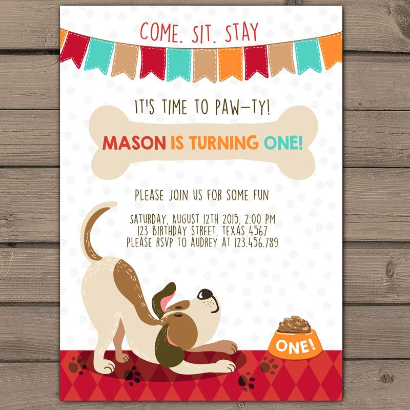 Puppy Birthday Invitation Puppy Party Invite Pawty Pawty Pawtey – Puppy Party Invitation