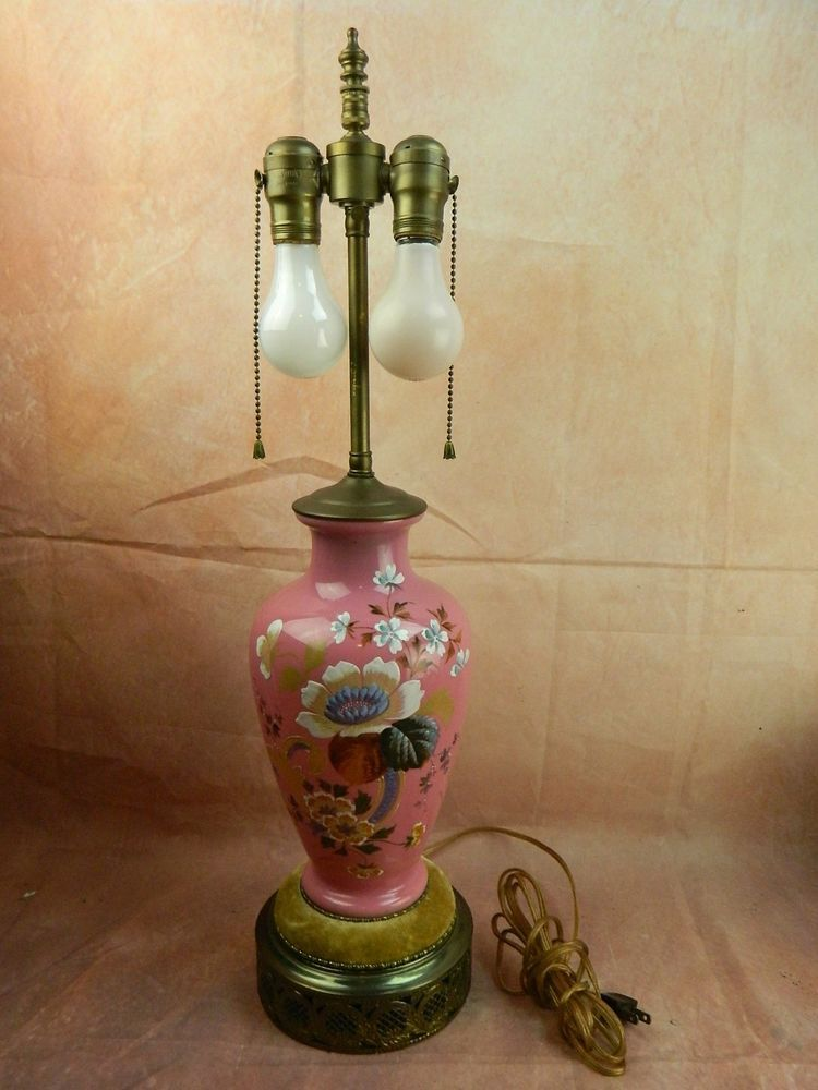 Vintage Pink Floral Porcelain Hand Painted Table Lamp Leviton 2