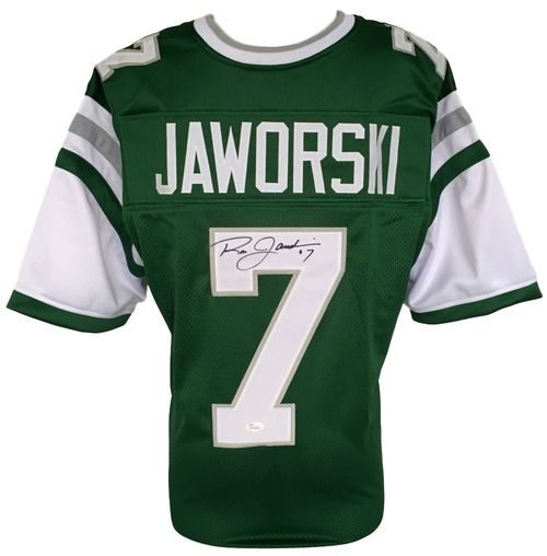 580ae7108be Ron Jaworski Signed Custom Green Throwback Football Jersey JSA ...