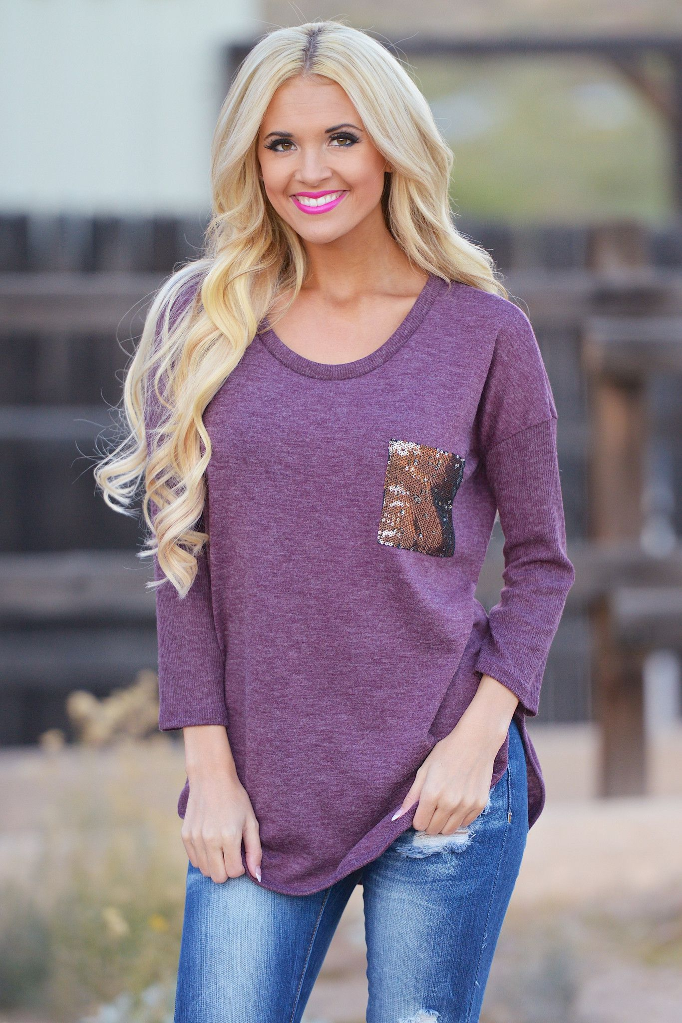 A Shiny Distraction Top - Plum from Closet Candy Boutique