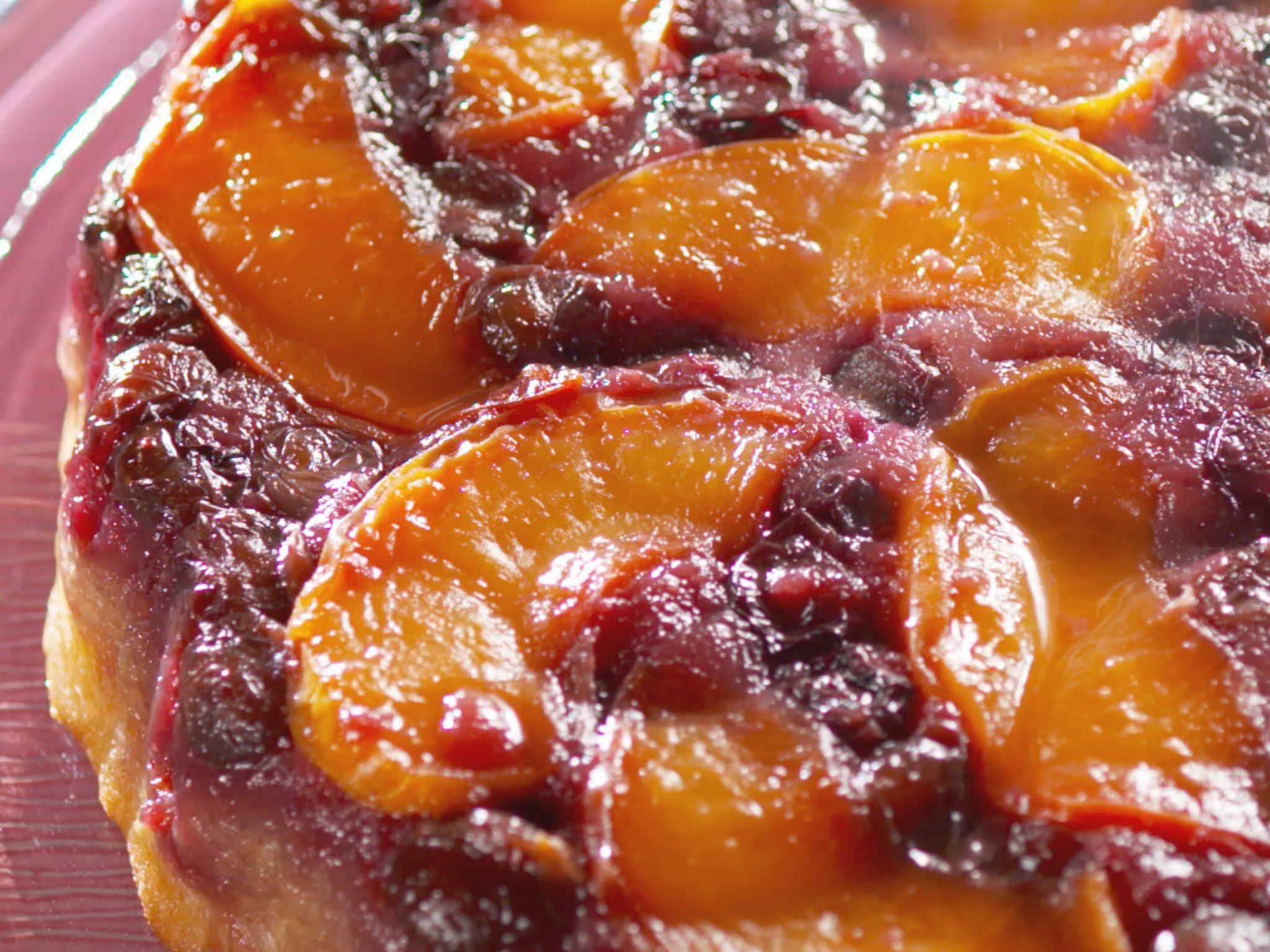 Fresh Peach and Blueberry Upside-Down Cake
