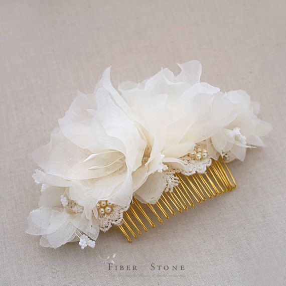 Fall Wedding Hair Accessories Lace And Pearls Pure Silk Flower