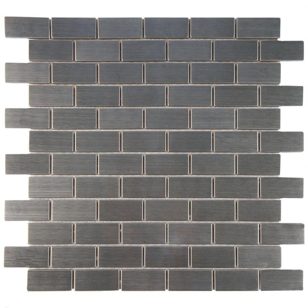 Merola Tile Meta Standard Subway 11 3 4 In X 11 3 4 In X 8 Mm Stainless Steel Metal Over Ceramic Mosaic Tile Mdxmsbst Ceramic Mosaic Tile Mosaic Wall Tiles Tiles